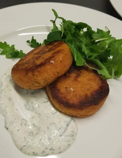 Sweet potato cakes and sour cream